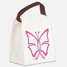 Pink Ribbon Butterfly Canvas Lunch Bag