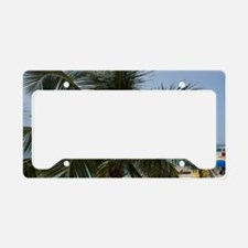 Tourists and palm tree along  License Plate Holder