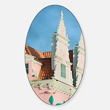 Oranjestad: Dutch Style Architectur Sticker (Oval)