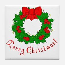 Merry Christmas Holly Wreath Blank Tile Coaster
