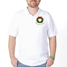 Merry Christmas Holly Wreath Blank T-Shirt