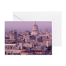 Cuba, old Havana, cityscape at dusk. Greeting Card