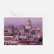 Cuba, old Havana, cityscape at dusk. Greeting Card