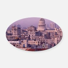 Cuba, old Havana, cityscape at dus Oval Car Magnet