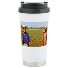 Simple farmers portait working  Travel Mug
