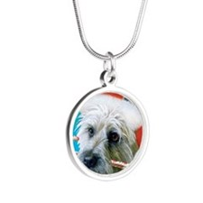 cairn terrier-bluegreen-11 Silver Round Necklace