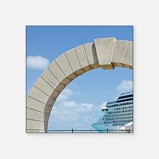 "Bermuda. Moon gate at cruis Square Sticker 3"" x 3"""