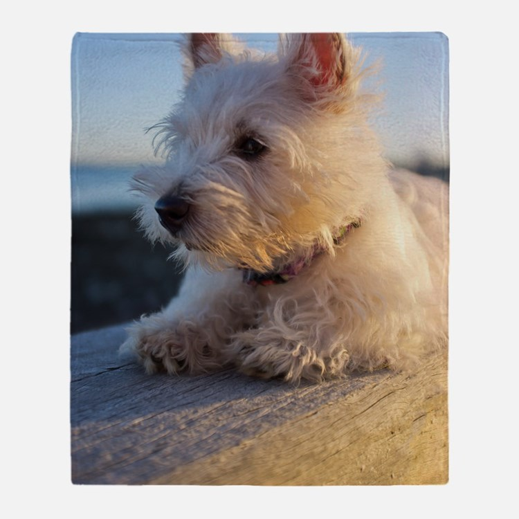 West Highland Terrier puppy on wood Throw Blanket