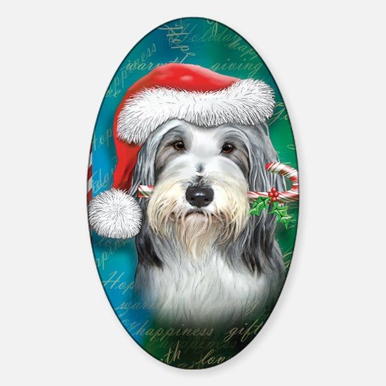 Bearded Collie-santa -journal Sticker (Oval)