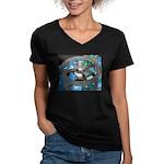 Space Women's V-Neck Black T-Shirt