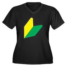 wabaka Women's Plus Size Dark V-Neck T-Shirt