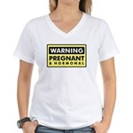 Warning Pregnant & Hormonal Women's V-Neck T-Shirt