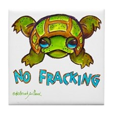 No Fracking Turtle 18sep2011 Tile Coaster
