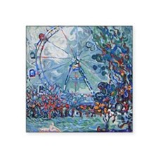 """A0151 Prater and wheel Square Sticker 3"""" x 3"""""""