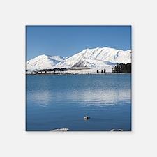 """Lake Tekapo and Two Thumb R Square Sticker 3"""" x 3"""""""