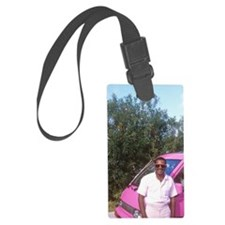 Pink taxi cab with cab driver in Luggage Tag