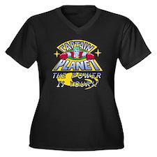 CAPTAINPLANE Women's Plus Size Dark V-Neck T-Shirt