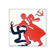 "Death To Fascism WW2 Red Ar Square Sticker 3"" x 3"""