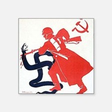 "Death To Fascism WW2 Red Ar Square Sticker 3"" x 3"""