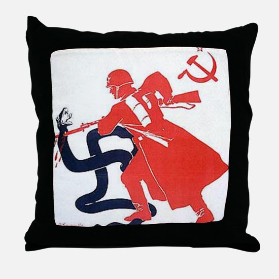 Death To Fascism WW2 Red Army Throw Pillow