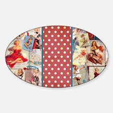 Pin-Up_Red-01 Sticker (Oval)