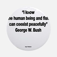 The Human Being And Fish - George W Round Ornament