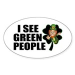 I See Green People Leprechaun Oval Sticker