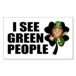 I See Green People Leprechaun Sticker (Rectangular