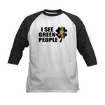 I See Green People Leprechaun Kids Baseball Jersey