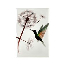 Dandelion and Hummingbird Trans Rectangle Magnet