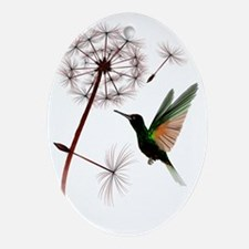 Dandelion and Hummingbird Trans Oval Ornament