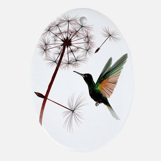 Dandelion and Hummingbird Trans Oval Ornament