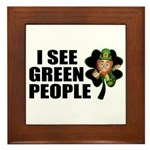 I See Green People Leprechaun Framed Tile