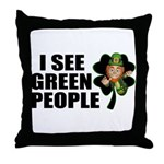 I See Green People Leprechaun Throw Pillow