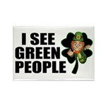 I See Green People Leprechaun Rectangle Magnet