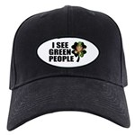 I See Green People Leprechaun Black Cap