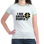 I See Green People Leprechaun Jr. Ringer T-Shirt