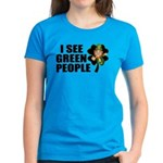 I See Green People Leprechaun Women's Dark T-Shirt