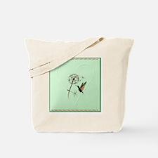 Heart Jewel Dandelion and Hummingbird Tote Bag