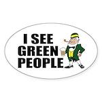 I See Green People Saint Pat's Oval Sticker