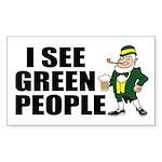 I See Green People Saint Pat's Sticker (Rectangula