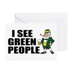 I See Green People Saint Pat's Greeting Cards (Pac