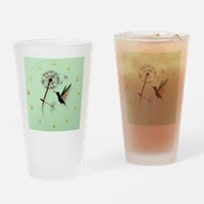 Dandelion and Hummingbird-wallclock Drinking Glass