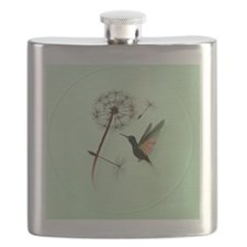 Dandelion and Hummingbird-circle Flask