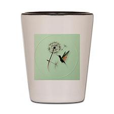 Dandelion and Hummingbird-circle Shot Glass