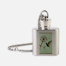 KEY CHAIN-Dandelion and Hummingbird Flask Necklace