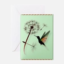 KEY CHAIN-Dandelion and Hummingbird Greeting Card