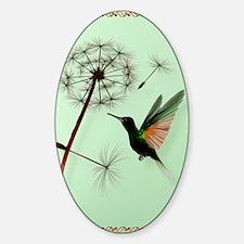 KEY CHAIN-Dandelion and Hummingbird Sticker (Oval)
