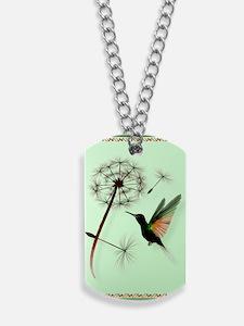 KEY CHAIN-Dandelion and Hummingbird Dog Tags