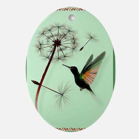 KEY CHAIN-Dandelion and Hummingbird Oval Ornament